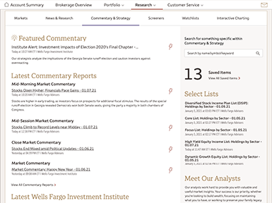 Enlarge thumbnail image of the market commentary page example